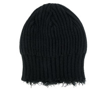 fringed knitted beanie hat
