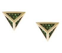 18kt 'Tetrahedron' Gelbgold-Ohrstecker mit Tsavoritverzierung