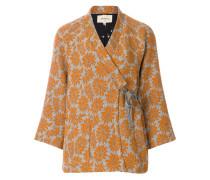 floral jacquard wrap jacket