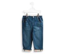 Jeans mit kariertem Aufschlag