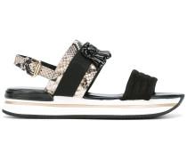 Sandalen mit Schlangenledereffekt