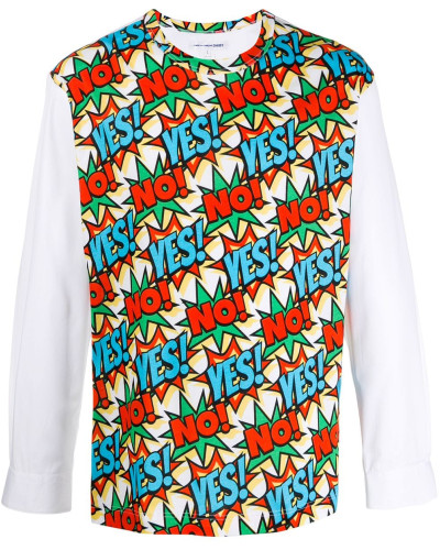 'Yes No' Pullover mit Print