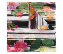 Gestreifter Seidenschal mit Blumen-Print