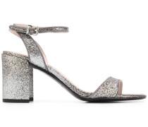 Glitter-Sandalen mit Blockabsatz