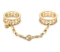 18kt Zwei-Finger-Gelbgoldring mit Diamanten
