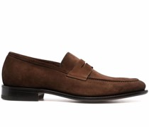 almond-toe leather loafers