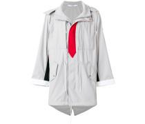 tie print parka coat