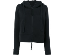 cropped front pocket hoodie