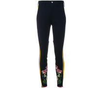 flower embroidered stripe leggings