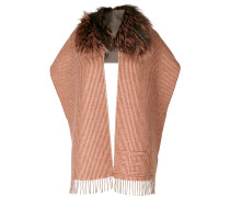 fur trim striped scarf