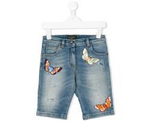 Jeans-Shorts mit Stickereien