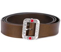 embossed buckle belt - unisex - Leder - 90