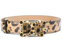 leopard print logo buckle belt - Unavailable