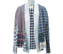 patchwork plaid shirt jacket