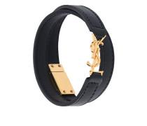 logo embossed double wrap bracelet