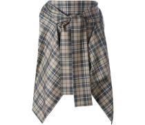 checked pointy asymmetric skirt