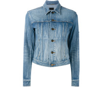 Cropped-Jeansjacke mit Patches - women