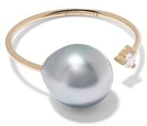 14kt yellow  diamond pearl open ring