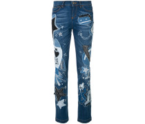 Girly-fit jeans with patch appliqués