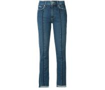 Cropped-Jeans mit unbearbeitetem Saum - women