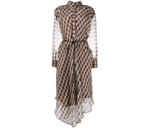 Kariertes Kleid mit Sheer-Effekt