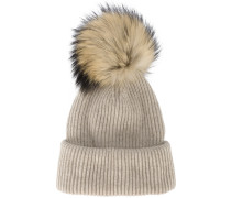 Neutral Ribbed Cashmere Hat With Fur Pom Pom