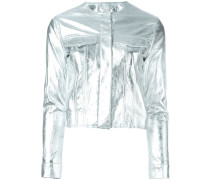 Cropped-Lederjacke im Metallic-Look