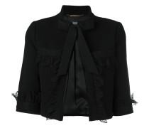 Cropped-Jacke mit Spitzenbesatz