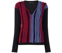 frayed stripe v-neck jumper