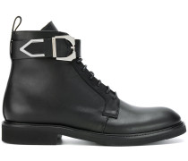 buckle strap lace-up boots