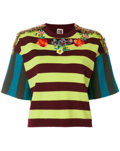 embellished embroidered striped top