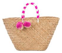 Gewebte Strandtasche mit Pompons - women