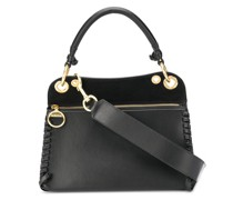 leather tote bag with gold-tone detailing