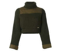 Gerippter Cropped-Pullover