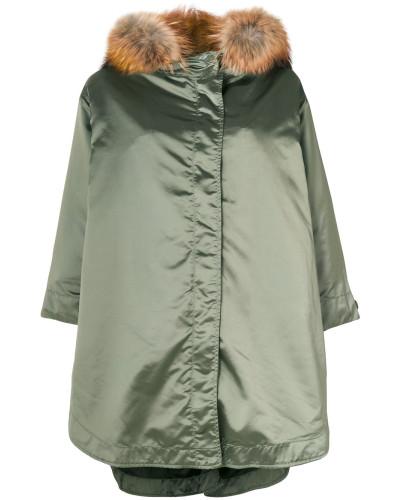 Oversized-Jacke mit Kaninchenpelzkragen