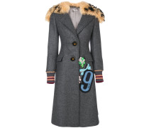 patch embellished shearling collar coat