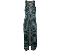 striped sleeveless long cardigan - women