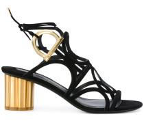 Sandalen mit goldfarbenem Blockabsatz