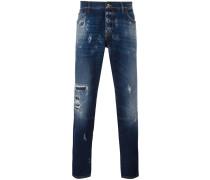 Jeans im Used-Look - men - Baumwolle/Kalbsleder