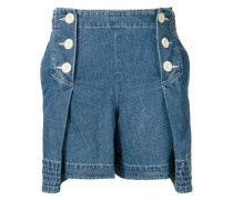Plissierte Jeansshorts