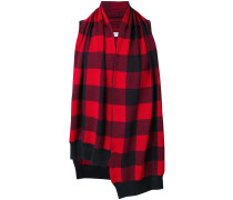 checked draped pullover