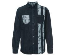 camouflage print denim shirt