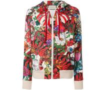 floral print zipped hoodie