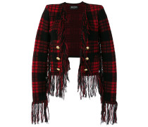 checked frayed cropped jacket