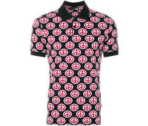 peace symbol print polo shirt