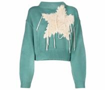 Cropped-Pullover mit Sterne-Stickerei