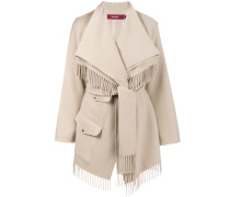 blanket wrap fringe coat