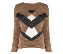 Intarsien-Pullover mit Kontrasteinsatz
