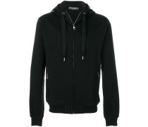 zipped hoodie with logo patch