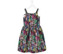 painted look print dress
